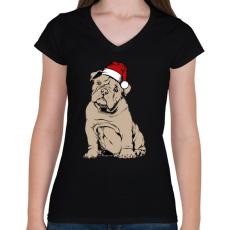 PRINTFASHION Bulldog karácsony - Női V-nyakú póló - Fekete
