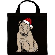 PRINTFASHION Bulldog karácsony - Vászontáska - Fekete