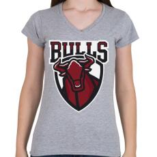 PRINTFASHION Bulls - Női V-nyakú póló - Sport szürke