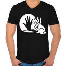 PRINTFASHION BUNNY - Férfi V-nyakú póló - Fekete