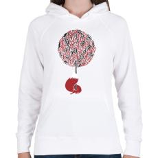 PRINTFASHION Cherry tree - Női kapucnis pulóver - Fehér