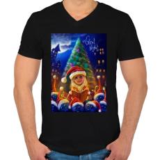 PRINTFASHION Christmasuj - Férfi V-nyakú póló - Fekete