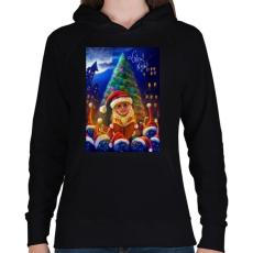 PRINTFASHION Christmasuj - Női kapucnis pulóver - Fekete