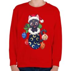 PRINTFASHION Cica Karácsony - Gyerek pulóver - Piros