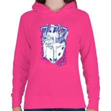 PRINTFASHION Cica - Női kapucnis pulóver - Fukszia