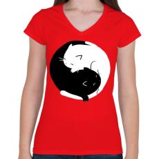 PRINTFASHION Cicus yin yang - Női V-nyakú póló - Piros