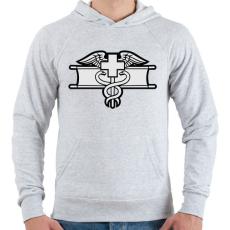 PRINTFASHION Combat Medic - Férfi kapucnis pulóver - Sport szürke