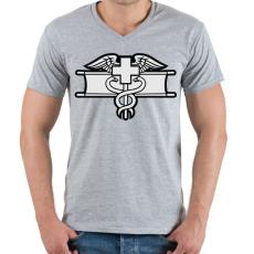 PRINTFASHION Combat Medic - Férfi V-nyakú póló - Sport szürke