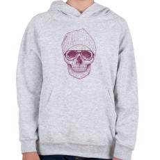PRINTFASHION Cool skull - Gyerek kapucnis pulóver - Sport szürke