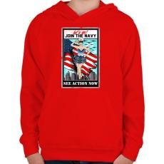 PRINTFASHION Csatlakozz a tengerészethez - Gyerek kapucnis pulóver - Piros