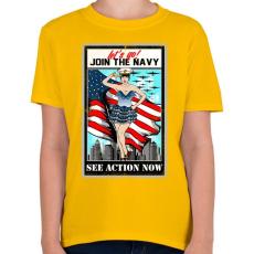 PRINTFASHION Csatlakozz a tengerészethez - Gyerek póló - Sárga