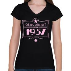 PRINTFASHION csillag-1957-pink - Női V-nyakú póló - Fekete