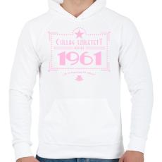 PRINTFASHION csillag-1961-pink - Férfi kapucnis pulóver - Fehér