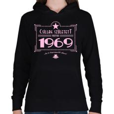 PRINTFASHION csillag-1969-pink - Női kapucnis pulóver - Fekete