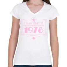 PRINTFASHION csillag-1978-pink - Női V-nyakú póló - Fehér
