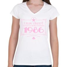 PRINTFASHION csillag-1986-pink - Női V-nyakú póló - Fehér