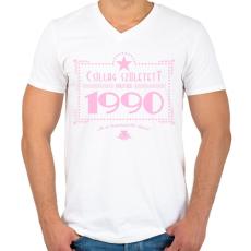 PRINTFASHION csillag-1990-pink - Férfi V-nyakú póló - Fehér