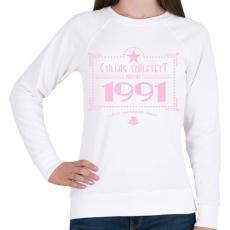 PRINTFASHION csillag-1991-pink - Női pulóver - Fehér