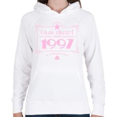 PRINTFASHION csillag-1997-pink - Női kapucnis pulóver - Fehér