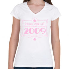 PRINTFASHION csillag-2009-pink - Női V-nyakú póló - Fehér