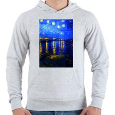 PRINTFASHION Csillagos ég a Rajna felett - Férfi kapucnis pulóver - Sport szürke