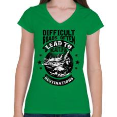 PRINTFASHION Csodás utak - Női V-nyakú póló - Zöld