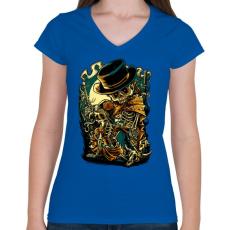 PRINTFASHION Csont bandita - Női V-nyakú póló - Királykék