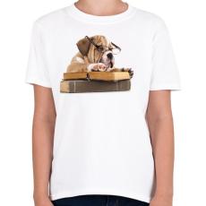 PRINTFASHION Cuki kutya könyvet olvas - Gyerek póló - Fehér