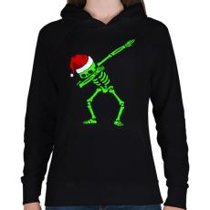 PRINTFASHION Dabbing csontváz télapó - Női kapucnis pulóver - Fekete