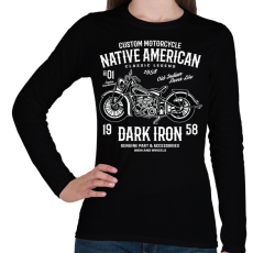 PRINTFASHION Dark Iron 1958 legendás motor - Női hosszú ujjú póló - Fekete