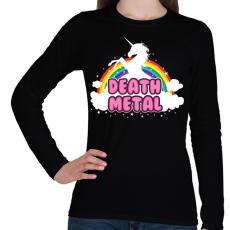 PRINTFASHION Death Metal unikornis - Női hosszú ujjú póló - Fekete