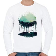 PRINTFASHION Deep in the forest - Férfi pulóver - Fehér