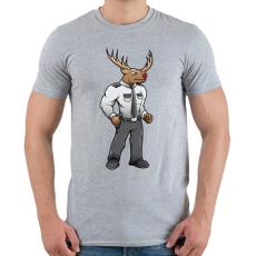 PRINTFASHION Deer Security - Férfi póló - Sport szürke