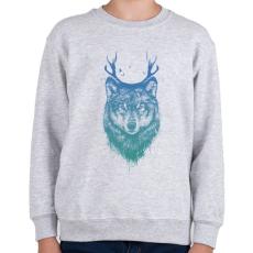 PRINTFASHION Deer wolf - Gyerek pulóver - Sport szürke