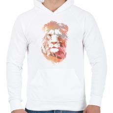 PRINTFASHION Desert lion - Férfi kapucnis pulóver - Fehér