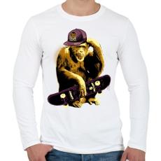 PRINTFASHION Deszkás majom - Férfi hosszú ujjú póló - Fehér