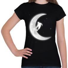 PRINTFASHION Deszkázás a holdon - Női póló - Fekete