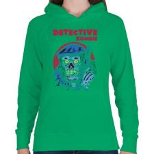 PRINTFASHION Detektív zombi - Női kapucnis pulóver - Zöld női pulóver, kardigán