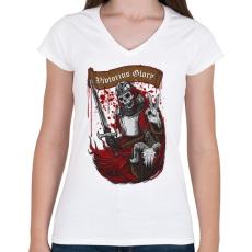 PRINTFASHION Dicsőséges győzelem - Női V-nyakú póló - Fehér