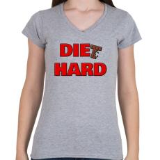 PRINTFASHION DIET HARD - Női V-nyakú póló - Sport szürke