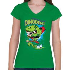 PRINTFASHION Dínófog - Női V-nyakú póló - Zöld