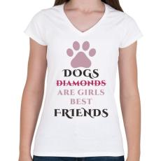 PRINTFASHION Dog best friend - Női V-nyakú póló - Fehér