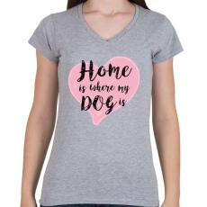 PRINTFASHION DOG LOVE - Női V-nyakú póló - Sport szürke