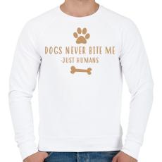 PRINTFASHION Dog never bite me - Férfi pulóver - Fehér