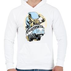 PRINTFASHION Drag VW Kombi - Férfi kapucnis pulóver - Fehér