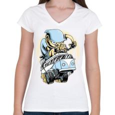 PRINTFASHION Drag VW Kombi - Női V-nyakú póló - Fehér