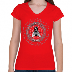 PRINTFASHION Dühös légy - Női V-nyakú póló - Piros