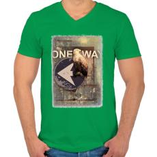 PRINTFASHION Egy út - Férfi V-nyakú póló - Zöld