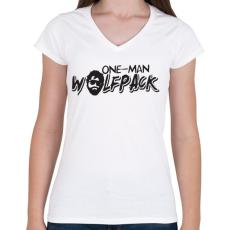 PRINTFASHION Egytagú farkasfalka - Női V-nyakú póló - Fehér