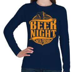 PRINTFASHION Éjszakai sörözés - Női hosszú ujjú póló - Sötétkék